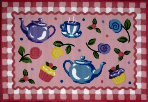Roule Olive Kids Collection Tea Party 19X29 Inch Kids Area Rugs