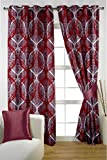 HOMEC Decorous Jacquard Curtain Set of 2 (Size - Window 46 X 60 inch/Color - Red)