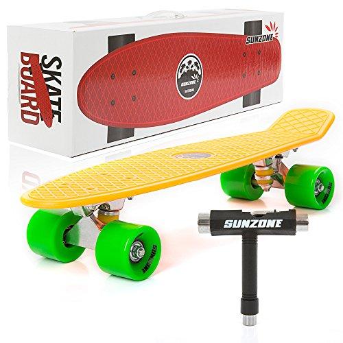 sunzone-mini-complete-skateboard-plastic-cruiser-standard-skate-board-trucks-22-inches-orange-board-