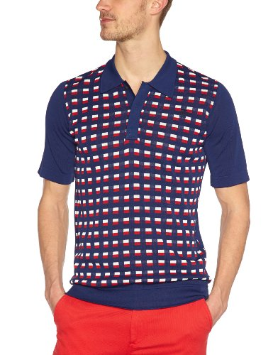 G-Star Raw RCT Block Polo Knit Shortsleeve Patterned Men's T-Shirt Navy Small - 21.131.86919A.4928.856.0.S