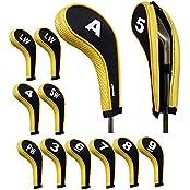 Andux Number Print Golf Iron Covers With Zipper Long Neck 12pcs/set Black/yellow Mt/w06+2LW