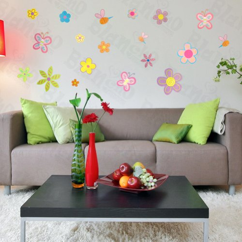 Colourful Flourish - Large Wall Decals Stickers Appliques Home Decor