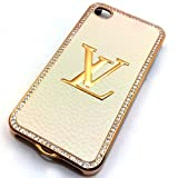 Designer LV Iphone 4/4s Hard Bling Leather Case with Shell Case (Cream Gold)