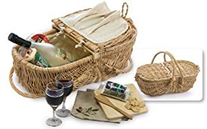Natural Willow Eco-Friendly Wine & Cheese Picnic Basket Set with Accessories