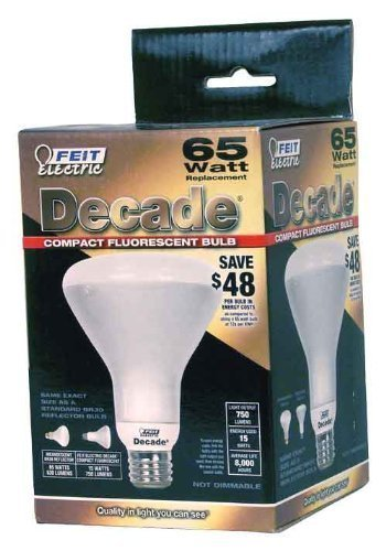 (6 Box) Feit Decade 15W / 65W 120V R30 Br30 Frosted Cfl Flood Bulb E26 D15R303 D15R303/12K
