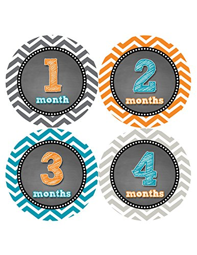 Months in Motion 421 Monthly Baby Stickers Baby Boy Month 1-12 Milestone Age Sticker Photo Prop