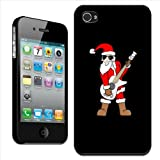 Fancy A Snuggle 'Rock Star Santa Claus Playing Guitar' Clip On Back Cover Hard Case for Apple iPhone 4/4S