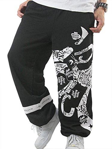 Easy Men'S Plus Size Thick Velvet Cool Print Hip-Hop Rock Baggy Pants Black