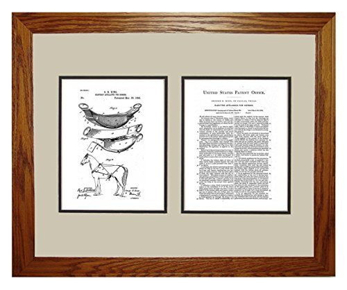 "Electric Appliance For Horses Patent Art White Matte Print In A Honey Red Oak Wood Frame (16"" X 20"")"