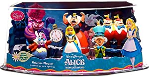 Disney Alice In Wonderland Exclusive 6 Piece Mini PVC Figure Collector Set Alice, White Rabbit, Cheshire Cat, Mad Hatter, Queen of Hearts, Tweedle Dum Dee