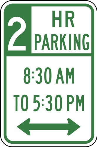 Street & Traffic Sign Wall Decals - 2 Hour Parking 8:30 Am-5:30 Pm Sign - 12 Inch Removable Graphic front-1039907