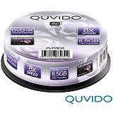 25 QUVIDO DVD+R DL 240Min 8.5GB 8x full printable in Spindel