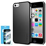 [Non-Slip] Spigen iPhone 5C Case Slim [Ultra Fit] [Smooth Black] Premium SF Coated Matte Hard Case for iPhone 5C – ECO-Friendly Packaging – Smooth Black (SGP10345)