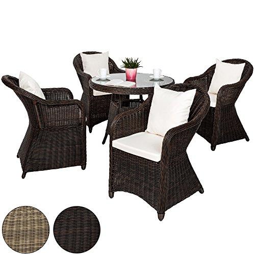 TecTake-Luxus-Alu-Polyrattan-Garten-Sitzgruppe-4-Gartensessel-und-1-Tisch-inkl-8-Kissen-wetterfest-diverse-Farben-Mixed-Braun-Nr-401974