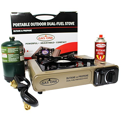 GAS ONE NEW GS-3400P Dual Fuel Portable Propane & Butane Camping and Backpacking Gas Stove Burner with Carrying Case Great for Emergency Preparedness Kit (GOLD) (Can Propane compare prices)