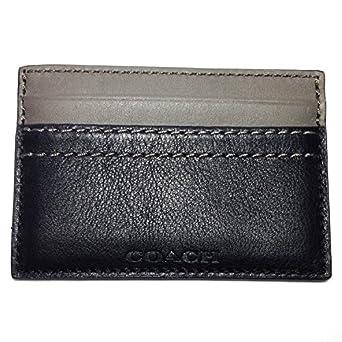 Men's Coach Signature Heritage Web Leather Slim Card Case Black
