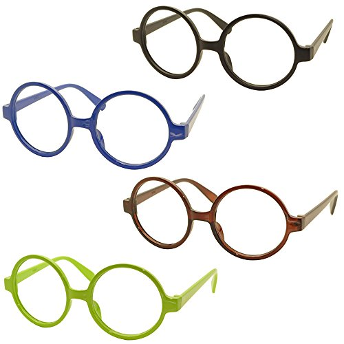 Set of 4 FancyG® Retro Geek Nerd Style Round Shape Glass Frame NO LENSES Set7