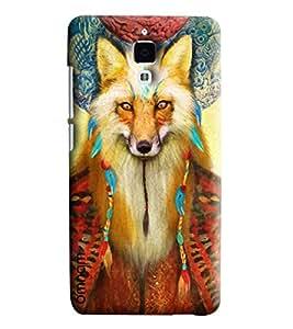 Omnam Wolf Face Printed Designer Back Cover Case For Xiaomi Mi4