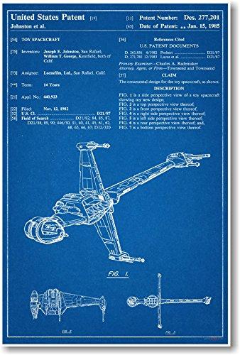 Star wars jedi blaster carrying case patent new famous invention star wars b wing patent new famous invention blueprint poster malvernweather Choice Image