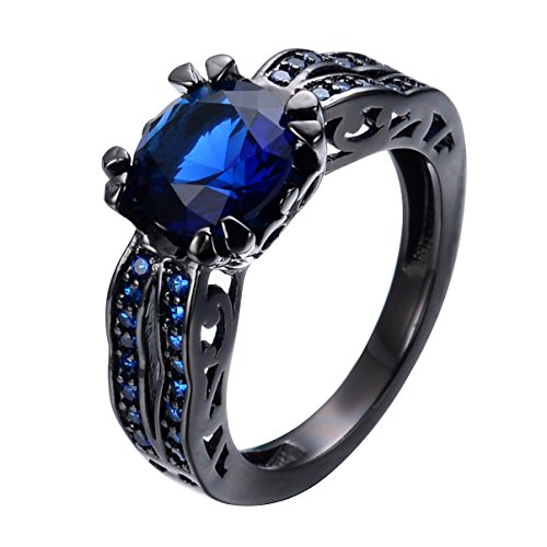 Bamos Jewelry Girls Christmas Best Friends Blue Sapphire Black Gold Engagement Rings for Her Size 7 (Ring For Girlfriend compare prices)