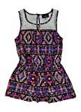 Alfa Global Girls' Summer Printed Rayon Short Romper Fuchsia/Blue/White Size 8