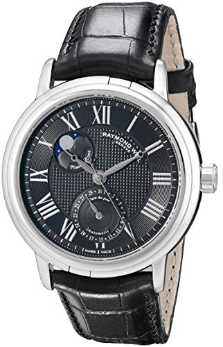raymond-weil-mens-2839-stc-00209-maestro-stainless-steel-automatic-watch-with-black-leather-band