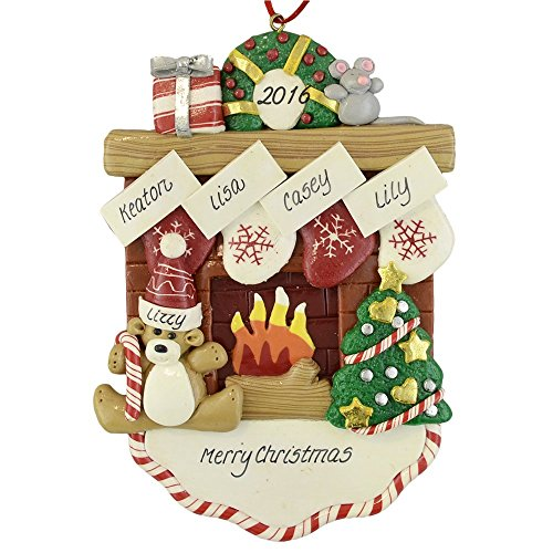 Fireplace Mantle with 4 Stockings Claydough Ornament (Fireplace Christmas Ornament compare prices)