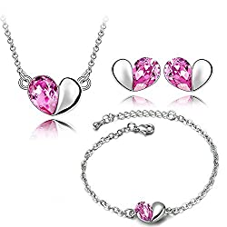 YouBella Jewellery Heart Shape Crystal Combo of Pendant Necklace Set, Bangle Bracelet and Fancy Party Wear Earrings for Girls and Women (Silver-Pink)