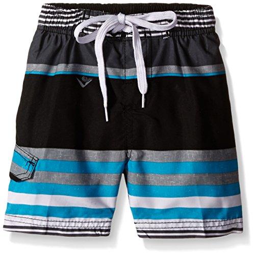 Kanu Surf Toddler Boys Optic Stripe Swim Trunks, Black/Aqua, 2T