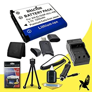 Halcyon 1200 mAH Lithium Ion Replacement EN-EL10 Battery and Charger Kit + Memory Card Wallet + SDHC Card USB Reader + Deluxe Starter Kit for Nikon Coolpix S570 12.0 Megapixel Digital Camera and Nikon EN-EL10