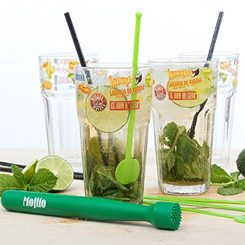 Coffret kit Mojito 13 pièces : verres à mojito, pailles, touilleurs, pilon