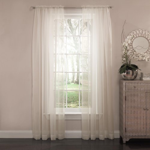 Curtain Fresh Arm And Hammer Odor Neutralizing Rod-Pocket Sheer Curtain Panel, 63 Inches, Ivory front-634081