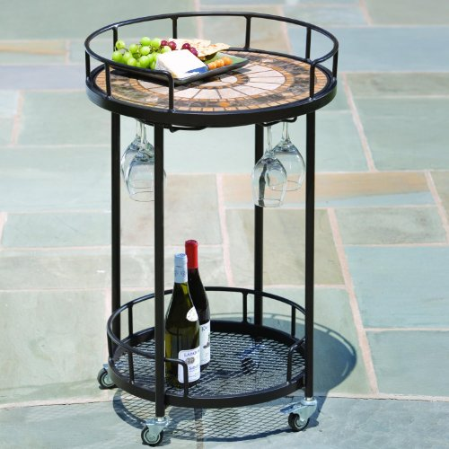 Alfresco Home 21-1314 Compass Indoor Outdoor Marble Mosaic Serving Cart
