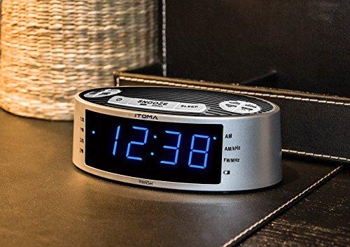 itoma clock radios blue led alarm clock radio am fm dual. Black Bedroom Furniture Sets. Home Design Ideas
