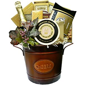 Art of Appreciation Gift Baskets Cheers to You Gourmet Food Basket with Smoked Salmon