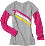 5185oG qFoL. SL160  Adidas Girls 7 16 2 in 1 3 stripes Long sleeve Tee, Medium Grey Heather/Intense Pink, Large