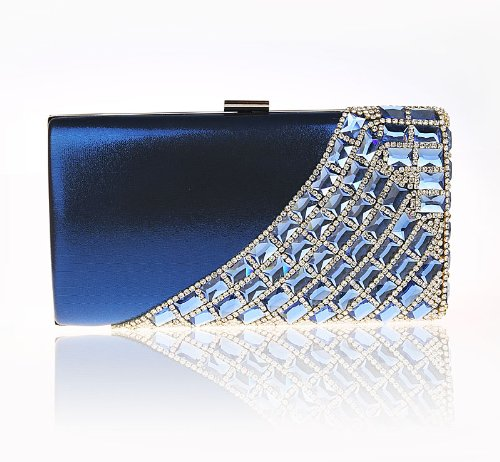 Minitoo Mm175 Womens Fashion Collection Vintage Handmade Blue Satin Glitter Rhinestone Clutch Handbags Evening Party Bags