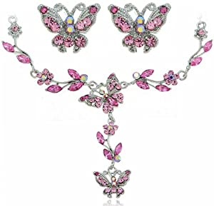 Indian Pink Butterfly Rhinestone SWAROVSKI CRYSTALS Flower Necklace And Earring Jewelry Set [Bridal Wedding Jewelry Sets] [Strawberry Gem]