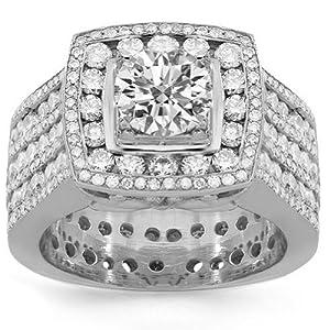 14K White Gold Mens Custom Diamond Ring 8.50 Ctw - 6