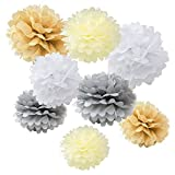 "WYZworks Set of 8 (Assorted Elegant Color Pack) 10"" 12"" 16"" Tissue Pom Poms Flower Party Decorations for Weddings, Birthday, Bridal, Baby Showers Nursery Décor"