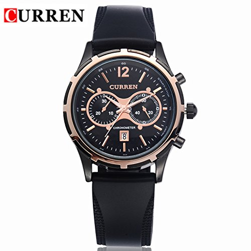 Curren Brand Men'S Silicone Luxury Watches(Gold &Black)