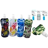 Water2go Flexible Collapsible Foldable Reusable Water Bottles BPA Free Set of 4 Color May Vary