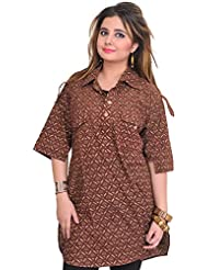 Exotic India Cinnamon-Brown Block-Printed Kurti From Pilkhuwa With Front - Brown