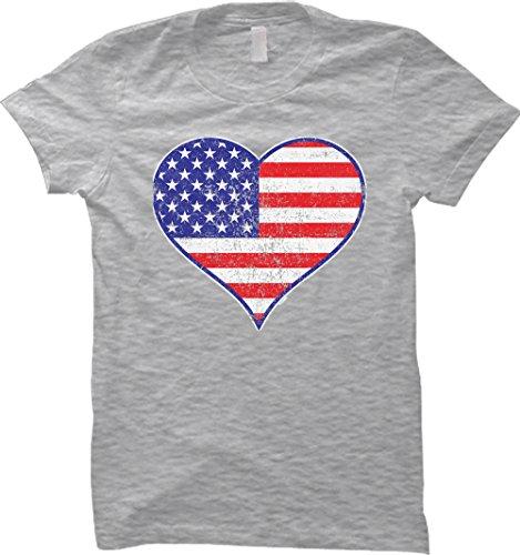 Distressed Heart American Flag WOMENS T-shirt (Medium, LIGHT GRAY)