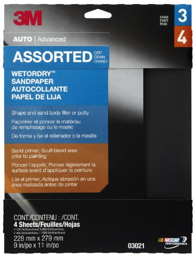 """3M 03021 Wetordry 9"""" x 11"""" Sandpaper Sheet with Assorted Grit Sizes"""