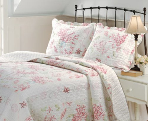 Coral Seashell Quilt and Sham Set
