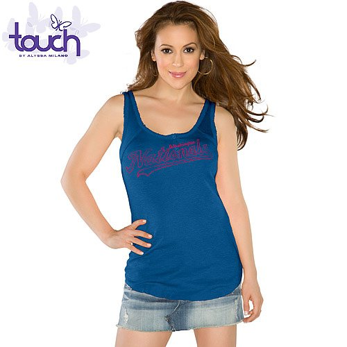 MLB Touch by Alyssa Milano Washington Nationals Ladies Curve Ball Tank Top - Navy Blue (Medium) at Amazon.com