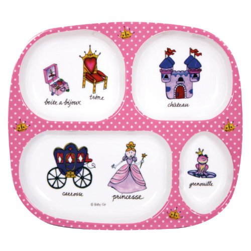 Child's Plate - 4-Section Princess Design -French Themed- By Baby Cie