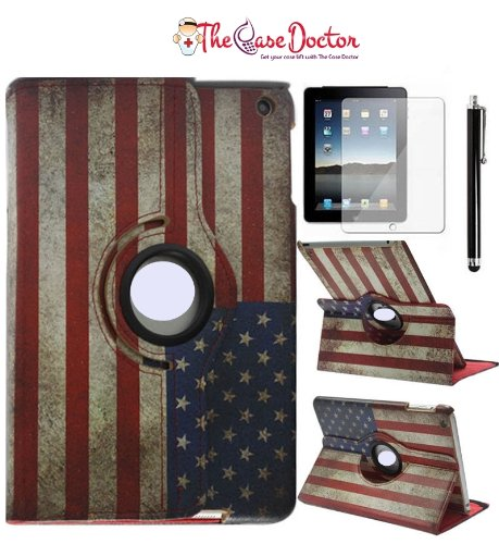 Tcd Ipad 2 3 4 Usa Vintage Rustic American Flag 360 Pu Leather Cover Stand Case With Stylus Pen And Screen Protector