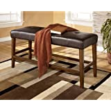 Signature Design by Ashley Lacy Brown Upholstered Counter Height Dining Bench